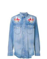 Camisa vaquera bordada celeste de Diesel