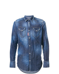 Camisa vaquera con adornos azul de DSQUARED2