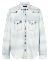 Camisa vaquera con adornos celeste de Amiri