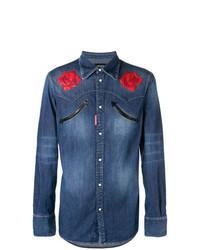 Camisa vaquera con print de flores azul