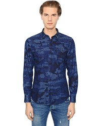 Camisa vaquera de camuflaje azul marino