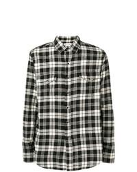 Camisa vaquera de tartán en negro y blanco de Saint Laurent
