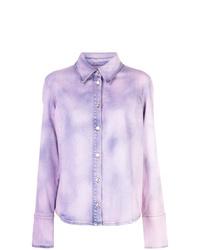 Camisa vaquera efecto teñido anudado violeta claro de MSGM