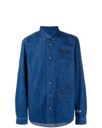Camisa vaquera estampada azul de MSGM
