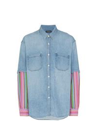 Camisa vaquera estampada celeste de Balenciaga