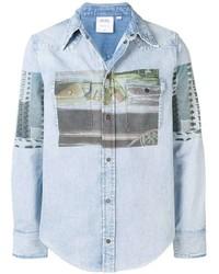 Camisa vaquera estampada celeste de Calvin Klein Jeans Est. 1978