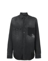 Camisa Vaquera Estampada Negra de Saint Laurent