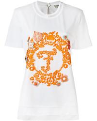 Camiseta bordada blanca de Fendi