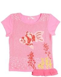 Camiseta con adornos rosa