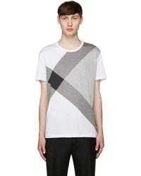 Camiseta con cuello circular a cuadros blanca