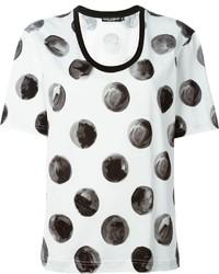 Camiseta con cuello circular a lunares en blanco y negro de Dolce & Gabbana