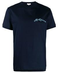 Camiseta con cuello circular azul marino de Alexander McQueen