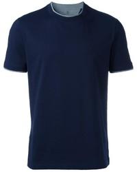 Camiseta con cuello circular azul marino de Brunello Cucinelli