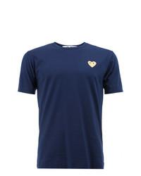 Camiseta con cuello circular azul marino de Comme Des Garcons Play