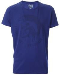 Camiseta con cuello circular azul marino de Diesel