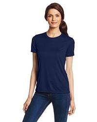 Camiseta con cuello circular azul marino de Hanes