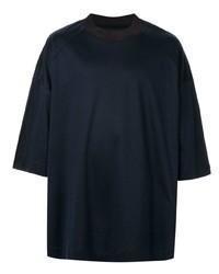 Camiseta con cuello circular azul marino de Juun.J