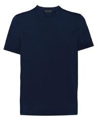 Camiseta con cuello circular azul marino de Prada
