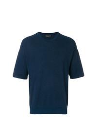 Camiseta con cuello circular azul marino de Roberto Collina