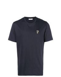 Camiseta con cuello circular azul marino de Versace Collection