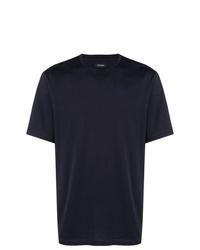 Camiseta con cuello circular azul marino de Z Zegna