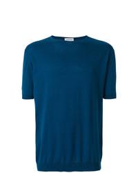 Camiseta con cuello circular azul de John Smedley