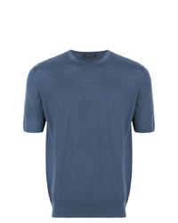 Camiseta con cuello circular azul de Prada
