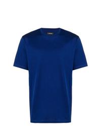 Camiseta con cuello circular azul de Z Zegna