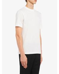Camiseta con cuello circular blanca de Prada