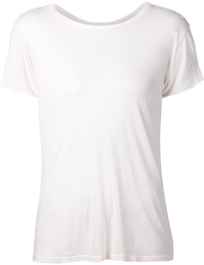 Camiseta con cuello circular blanca de R 13
