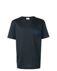 Camiseta con cuello circular bordada azul marino de Salvatore Ferragamo