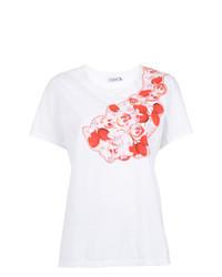 Camiseta con cuello circular bordada blanca de Isolda