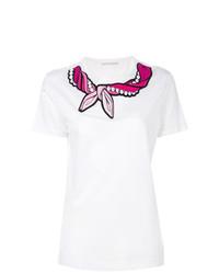 Camiseta con cuello circular bordada blanca de Marco De Vincenzo