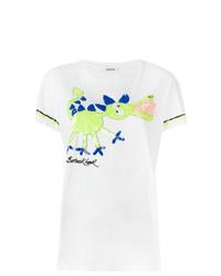 Camiseta con cuello circular bordada blanca de P.A.R.O.S.H.