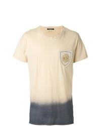 Camiseta con cuello circular bordada en beige de Balmain