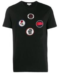 Camiseta con cuello circular bordada negra de Alexander McQueen