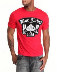 Camiseta con cuello circular bordada roja