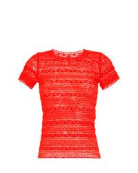 Camiseta con cuello circular bordada roja de Marc Cain