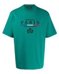 Camiseta con cuello circular bordada verde de Balenciaga