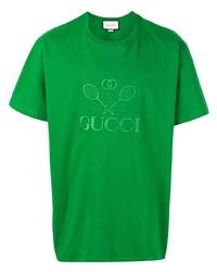 Camiseta con cuello circular bordada verde de Gucci