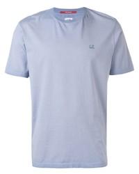 Camiseta con cuello circular celeste de CP Company