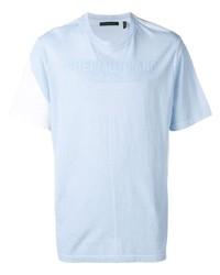 Camiseta con cuello circular celeste de Helmut Lang