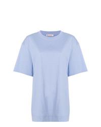 Camiseta con cuello circular celeste de Marni