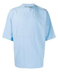 Camiseta con cuello circular celeste de Palm Angels