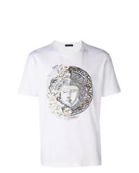 Camiseta con cuello circular con adornos blanca de Versace