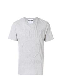 Camiseta con cuello circular con adornos gris de Moschino