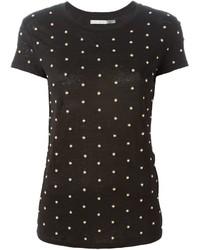 Camiseta con cuello circular con adornos negra de Alice + Olivia