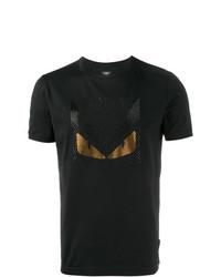 Camiseta con cuello circular con adornos negra de Fendi