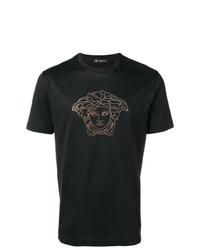 Camiseta con cuello circular con adornos negra de Versace