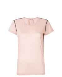 Camiseta con cuello circular con adornos rosada de N°21